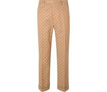Slim-Fit Logo-Jacquard Cotton-Blend Suit Trousers