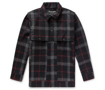 Layered Checked Wool Coat