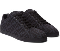Leather-Trimmed Logo-Jacquard Mesh Sneakers