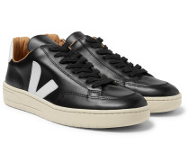 V-12 Bastille Rubber-trimmed Leather Sneakers - Black