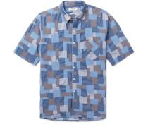 Dweller Button-Down Collar Patchwork Cotton Shirt
