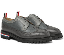 Panelled Pebble-Grain Leather Longwing Brogues