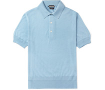 Slim-fit Cashmere And Silk-blend Piqué Polo Shirt - Blue