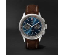 Premier B01 Chronograph 42mm Stainless Steel And Nubuck Watch - Blue
