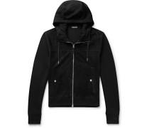Slim-Fit Panelled Merino Wool and Suede Zip-Up Hoodie