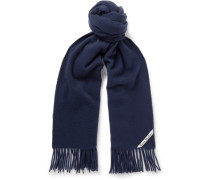 Canada Narrow Fringed Wool Scarf - Navy