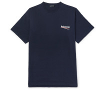 Oversized Logo-print Cotton-jersey T-shirt - Navy