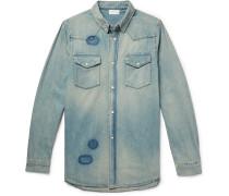 Distressed Denim Western Shirt - Indigo