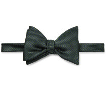 Pre-tied Puppytooth Silk-jacquard Bow Tie - Dark green
