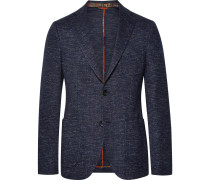 Storm-blue Slim-fit Cotton And Wool-blend Blazer