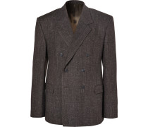 Brown Double-breasted Wool-blend Tweed Blazer