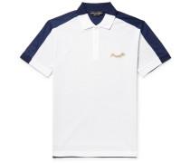 Slim-fit Colour-block Cotton-piqué And Jersey Polo Shirt - White