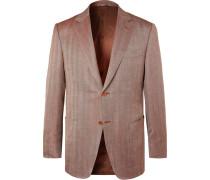 Brown Slim-fit Unstructured Herringbone Wool, Silk And Linen-blend Blazer - Brown
