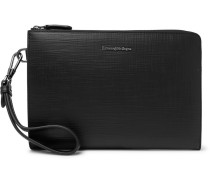 Textured Leather Pouch - Black