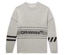 Distressed Logo-intarsia Cotton-blend Sweater - Gray