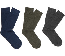Fred Three Pack Stretch-cotton Socks