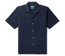 Camp-collar Cotton-seersucker Shirt - Navy