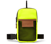 Leather-trimmed Neoprene And Mesh Pouch - Yellow