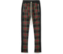 Skinny-fit Checked Stretch-wool Drawstring Trousers
