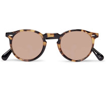 Gregory Peck Round-frame Two-tone Tortoiseshell Acetate Sunglasses - Brown