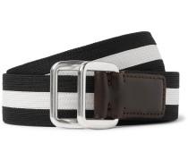 3.5cm Leather-trimmed Striped Webbing Belt - Black