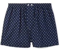 Nelson Printed Cotton Boxer Shorts - Navy