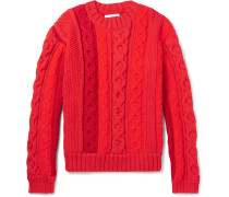 Cable-knit Sweater - Red