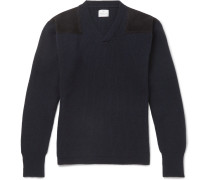 Merlin's Suede-panelled Ribbed Wool Sweater - Navy