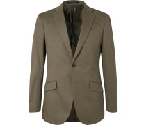 Army-Green Stretch-Cotton Twill Suit Jacket
