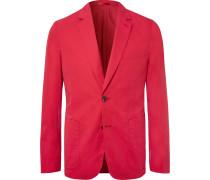 Red Soho Slim-fit Unstructured Cotton Blazer - Red