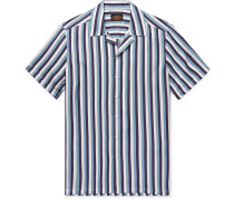 Camp-collar Striped Silk-twill Shirt