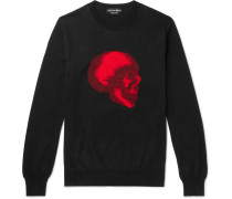 Slim-fit Skull-intarsia Cotton Sweater - Black