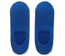 Stretch Egyptian Cotton And Nylon-blend No-show Socks - Blue