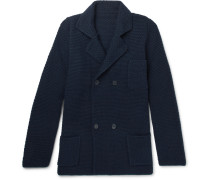 Double-breasted Merino Wool And Cashmere-blend Cardigan - Navy