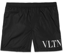 Mid-length Logo-print Swim Shorts - Black