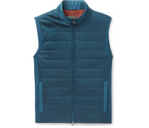 Storm System Quilted Shell And Virgin Wool Gilet - Blue
