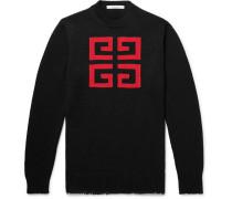 Slim-fit Logo-intarsia Cotton Sweater - Black