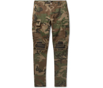 Mx1 Camouflage-print Slim-fit Tapered Stretch-cotton Twill Cargo Trousers - Army green