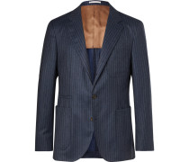 Navy Slim-fit Unstructured Chalk-striped Wool Suit Jacket - Navy