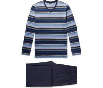 Jolan Mercerised Striped Cotton-jersey Pyjama Set - Storm blue