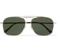 Aviator-style Gold-tone Sunglasses - Green