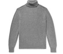 Mélange Wool Rollneck Sweater - Gray