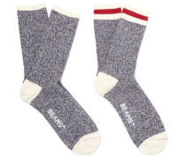 Two-pack Cotton-blend Socks - Navy