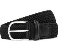 3.5cm Black Leather-trimmed Woven Elastic Belt