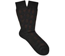 Skull-patterned Cotton Socks