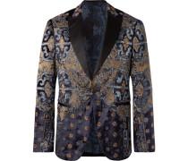 Midnight-blue Slim-fit Satin-trimmed Embellished Velvet Tuxedo Jacket - Midnight blue