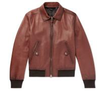 Slim-fit Leather Bomber Jacket - Brown