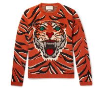Embroidered Tiger-intarsia Wool Sweater