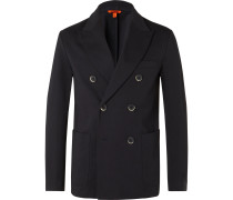 Navy Double-Breasted Cotton-Jersey Blazer