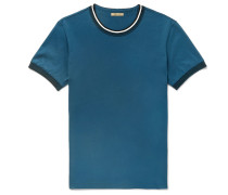 Knit-trimmed Cotton-jersey T-shirt - Blue
